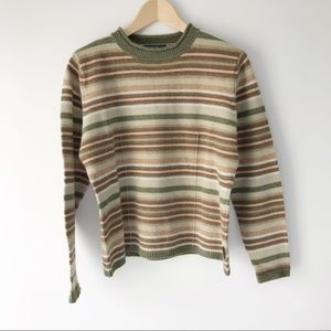 Woolrich Olive Green Striped Lambswool Sweater Med